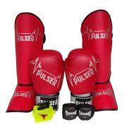 Kit de Muay Thai / Kickboxing 10oz - Vermelho Pulser Logo - Pulser