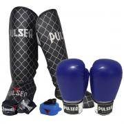 Kit de Muay Thai / Kickboxing 12oz - Azul - Pulser