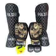 Kit de Muay Thai / Kickboxing 12oz - Dragão Preto e Dourado - Pulser