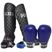 Kit de Muay Thai / Kickboxing 14oz - Azul - Pulser