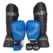 Kit de Muay Thai / Kickboxing 14oz - Preto e Azul Pulser Logo - Pulser