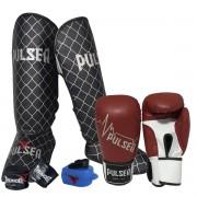 Kit de Muay Thai / Kickboxing 14oz - Vermelho Pulsar - Pulser
