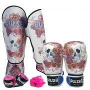 Kit de Muay Thai / Kickboxing Feminino 10oz - Caveira Azul Floral - Pulser