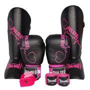 Kit de Muay Thai / Kickboxing Feminino 10oz - Preto Coração - Pulser