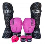Kit de Muay Thai / Kickboxing Feminino 10oz - Preto e Rosa Coração - Pulser