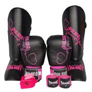 Kit de Muay Thai / Kickboxing Feminino 12oz - Preto com Rosa Coração - Pulser