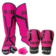 Kit de Muay Thai / Kickboxing Feminino 12oz - Rosa Iron - Pulser