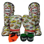 Kit de Muay Thai / Kickboxing Infantil 6oz - Comic - Thunder Fight