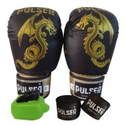 Kit Luva de Boxe / Muay Thai 10oz + Bandagem 3 Metros + Bucal Simples - Pulser