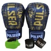 Kit Luva de Boxe / Muay Thai 12oz + Bandagem 3 Metros + Bucal Simples - Pulser
