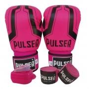 Kit Luva de Boxe / Muay Thai Feminino 10oz + Bandagem 3 Metros + Bucal Simples - Pulser