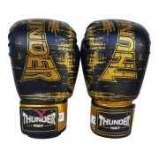 Luva de Boxe / Muay Thai 10oz - Preto Riscado - Thunder Fight