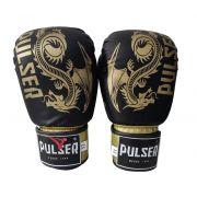 Luva de Boxe / Muay Thai 12oz - Dragão Preto e Dourado New -Pulser