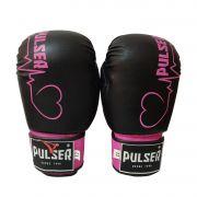 Luva de Boxe / Muay Thai 12oz Feminina - Preto e Rosa Coração - Pulser