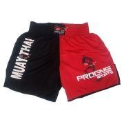 Shorts Bermuda Calção Treino Academia Top Muay Thai Preto com Vermelho Masculino - Progne