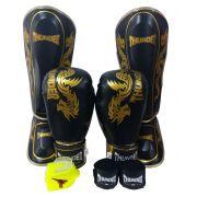 Super Kit de Muay Thai / Kickboxing 14oz - Caneleira G - Dragão Preto cm Dourado - Thunder Fight