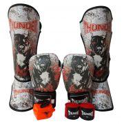 Super Kit de Muay Thai / Kickboxing 14oz - Caneleira M - Dog - Thunder Fight