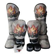 Super Kit de Muay Thai / Kickboxing 14oz - Caneleira M - Skull Dead - Thunder Fight