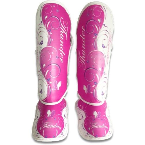 Caneleira Feminina Muay Thai MMA Borboleta Rosa 20mm - Thunder Fight  - PRALUTA SHOP