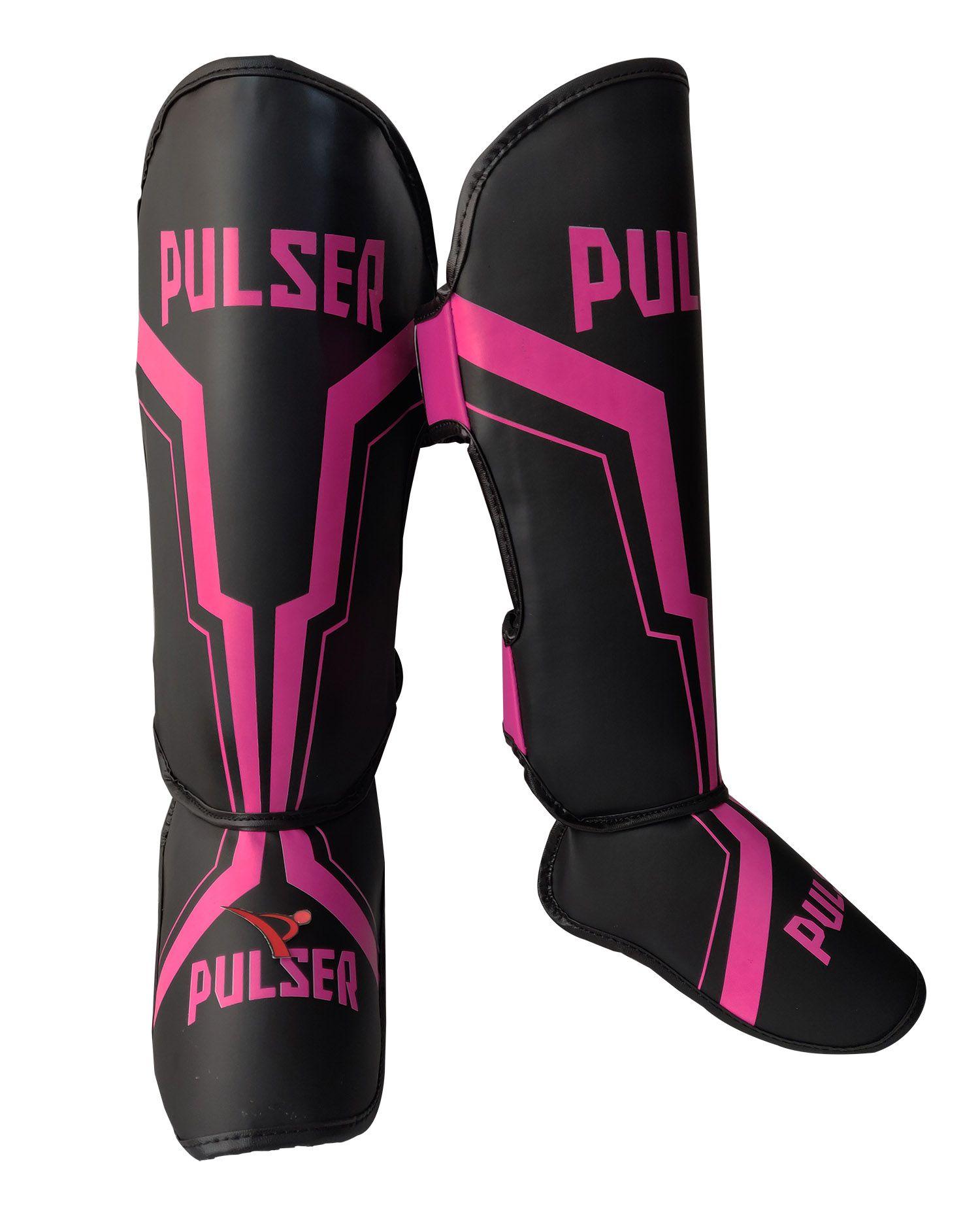 Caneleira Feminina Muay Thai MMA Preto com Rosa Iron 20mm - Pulser  - PRALUTA SHOP