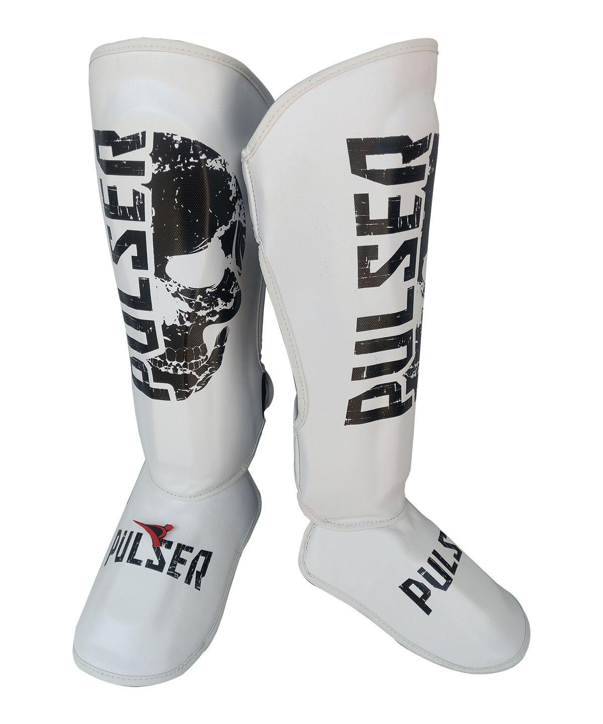 Caneleira Muay Thai MMA Branco Caveira New Grande 30mm - Pulser  - PRALUTA SHOP