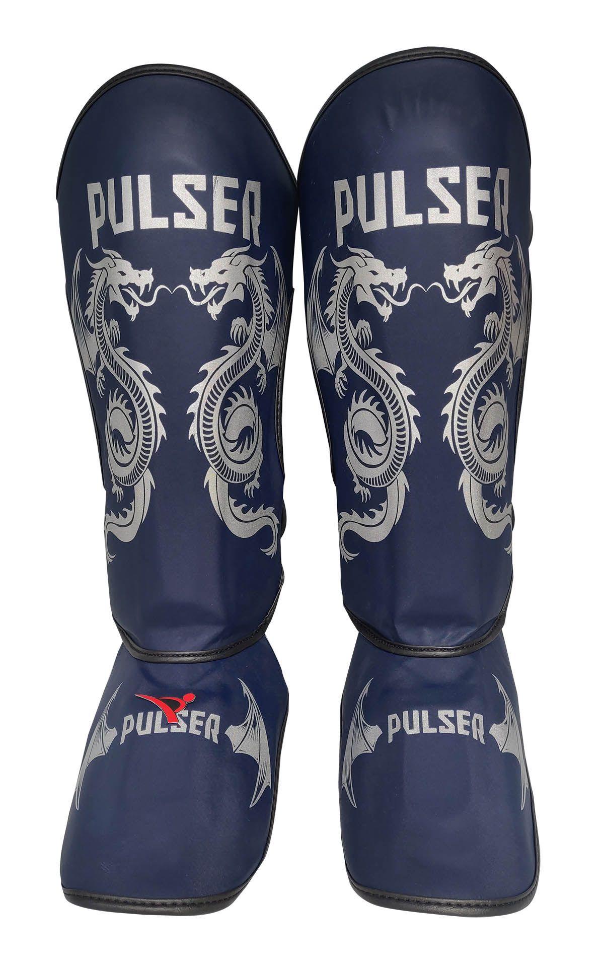Caneleira Muay Thai MMA Dragão Azul Grande 30mm - Pulser  - PRALUTA SHOP