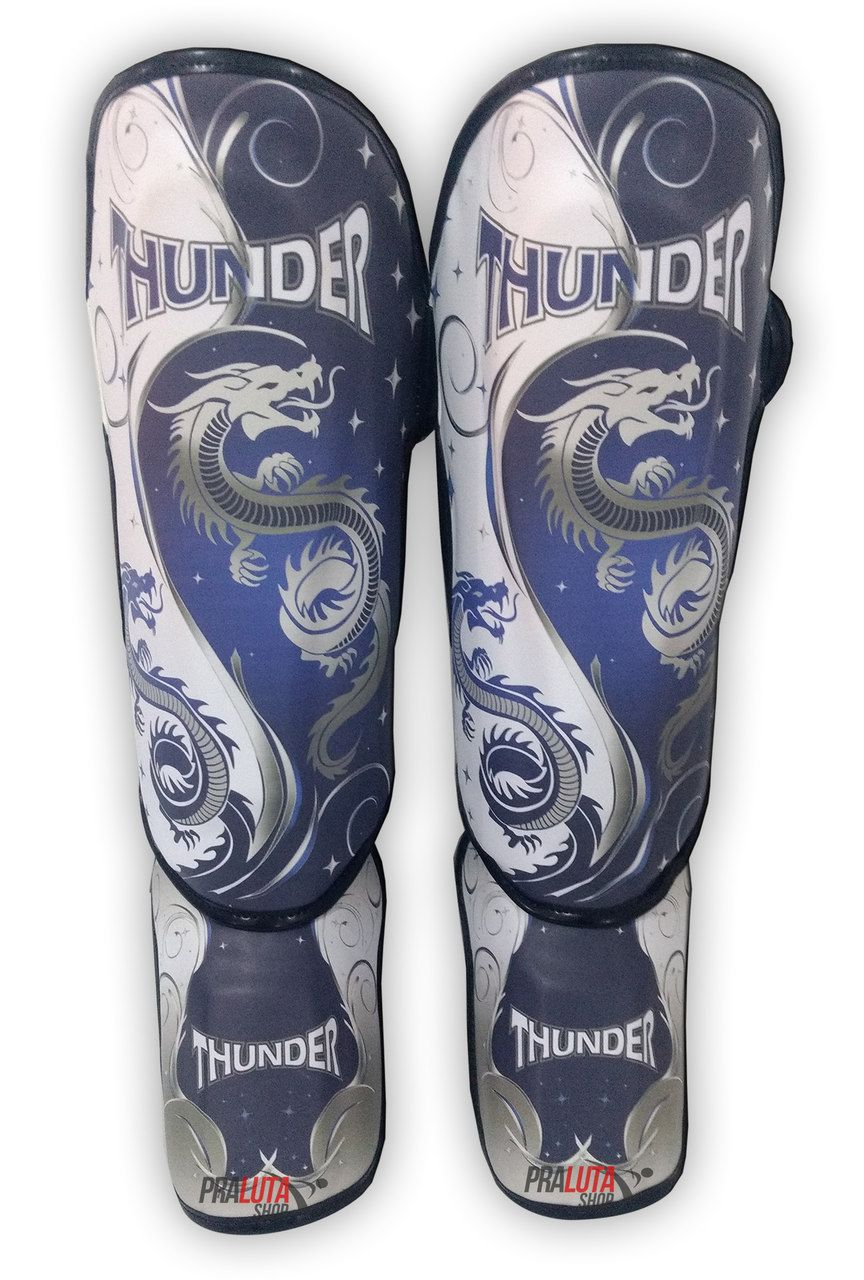 Caneleira Muay Thai MMA Dragão Azul New Média 30mm - Thunder Fight  - PRALUTA SHOP