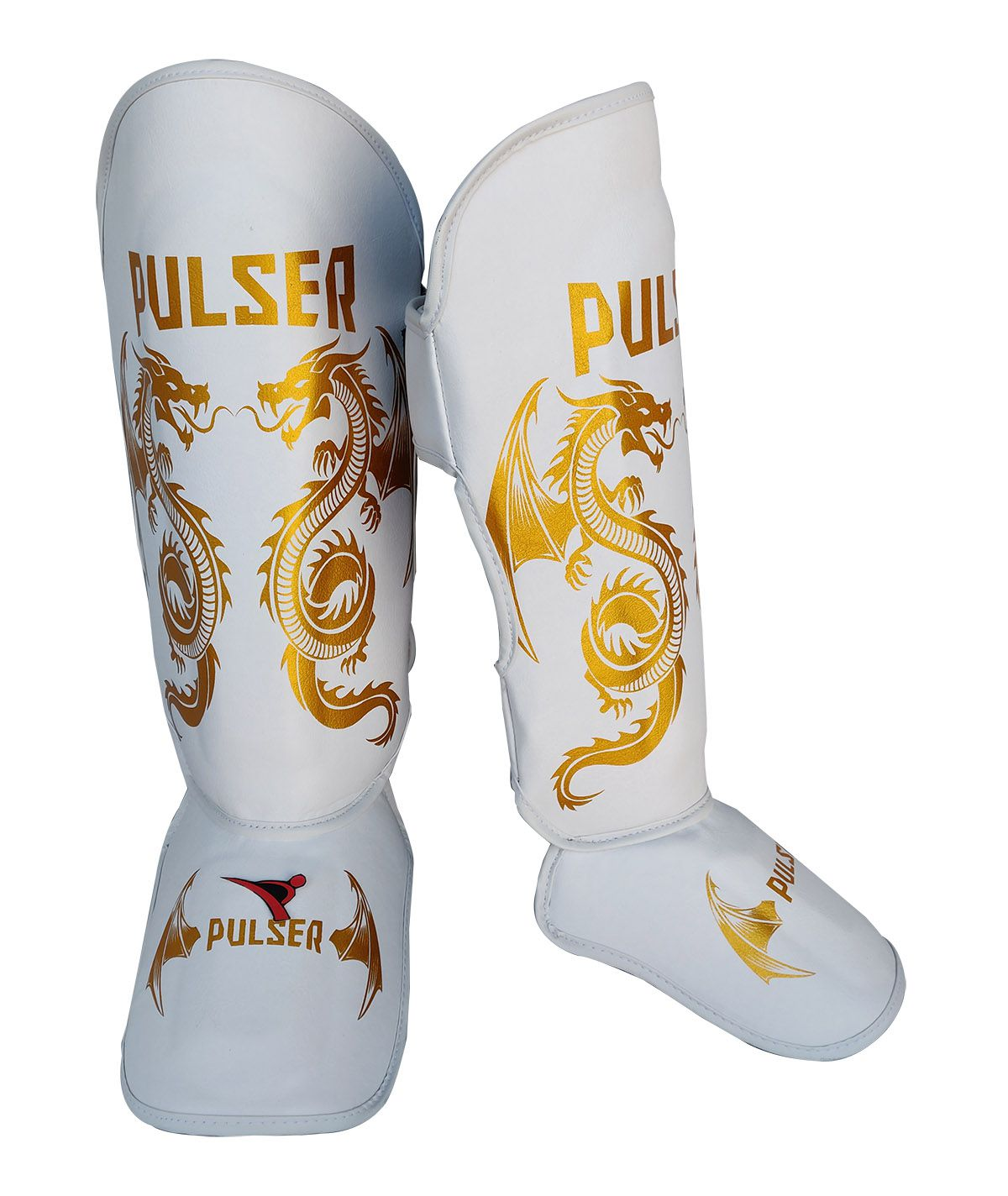 Caneleira Muay Thai MMA Dragão Branco com Dourado Grande 30mm - Pulser  - PRALUTA SHOP
