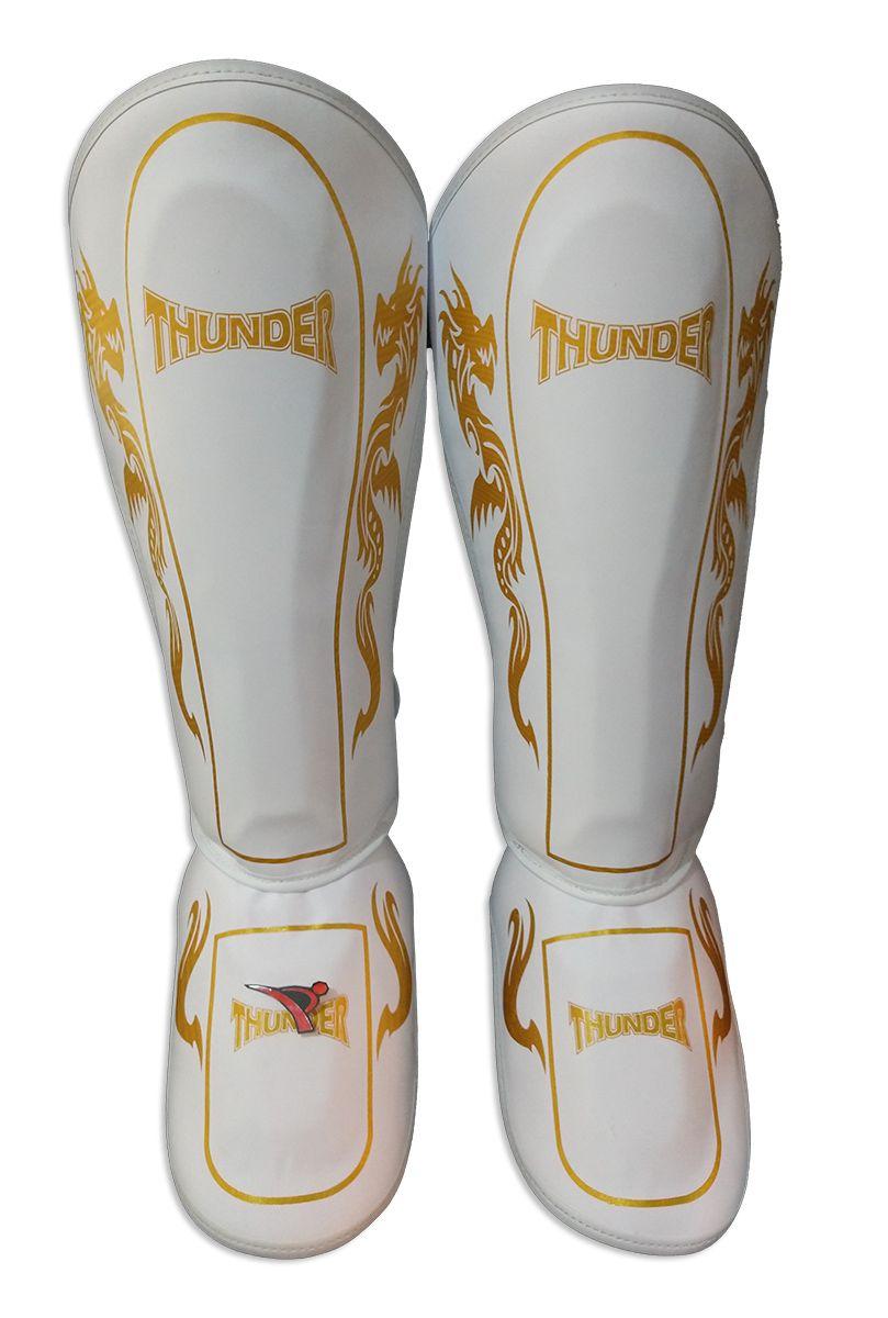 Caneleira Muay Thai MMA Dragão Branco com Dourado Grande 30mm - Thunder Fight  - PRALUTA SHOP