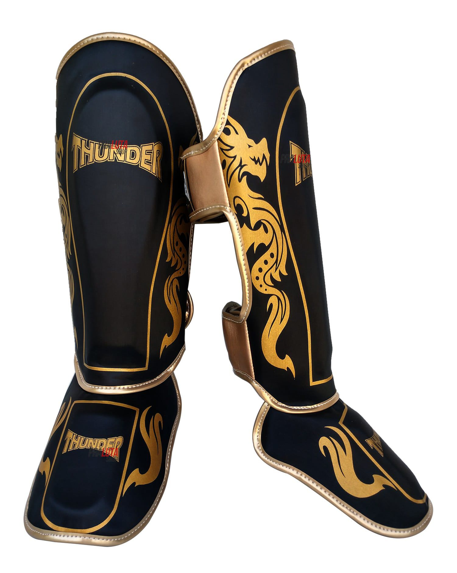 Caneleira Muay Thai MMA Dragão Preto com Dourado Grande 30mm - Thunder Fight - PRALUTA SHOP