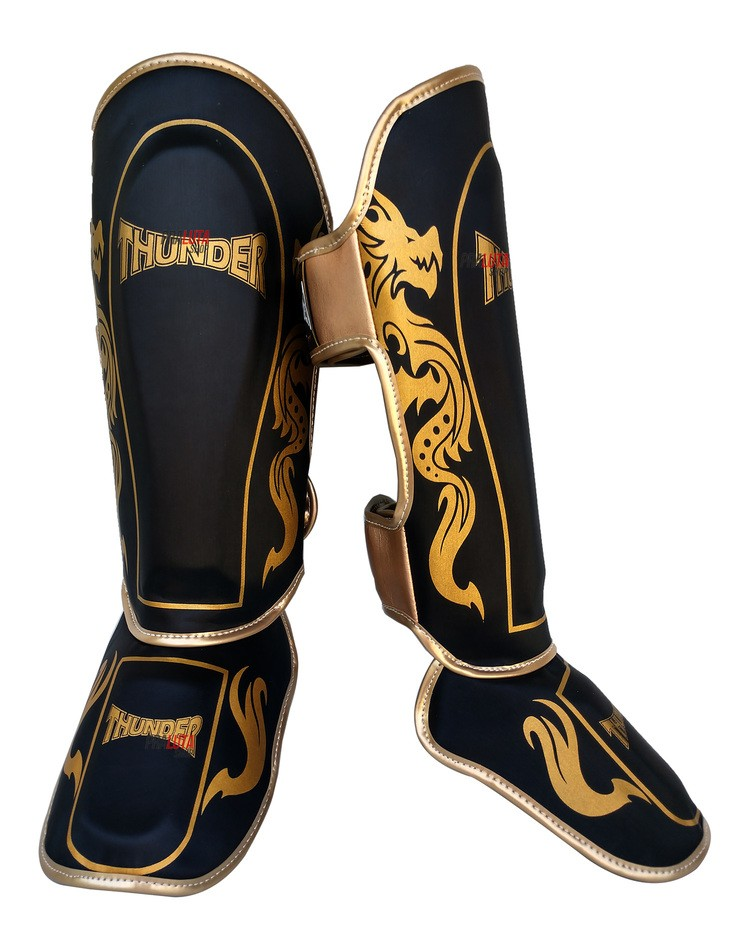 Caneleira Muay Thai MMA Dragão Preto com Dourado Média 30mm - Thunder Fight  - PRALUTA SHOP