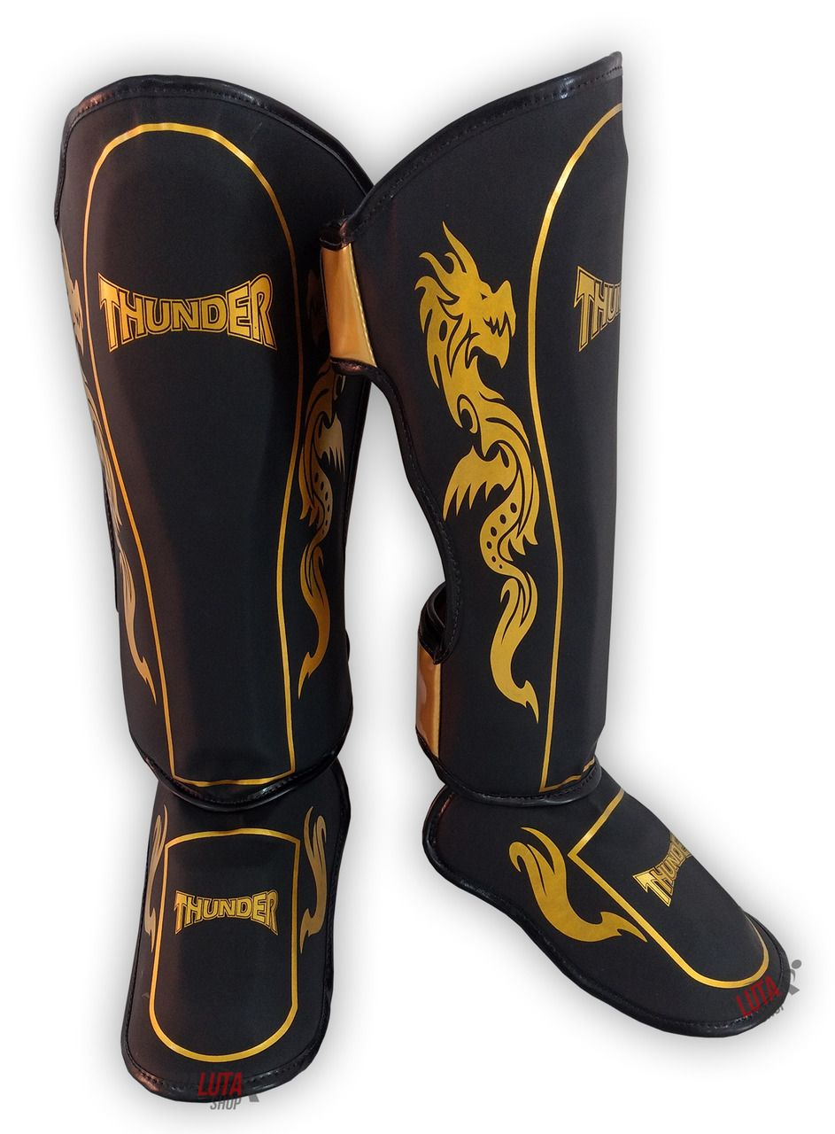 Caneleira Muay Thai MMA Dragão Preto / Dourado Grande 30mm - Thunder Fight  - PRALUTA SHOP