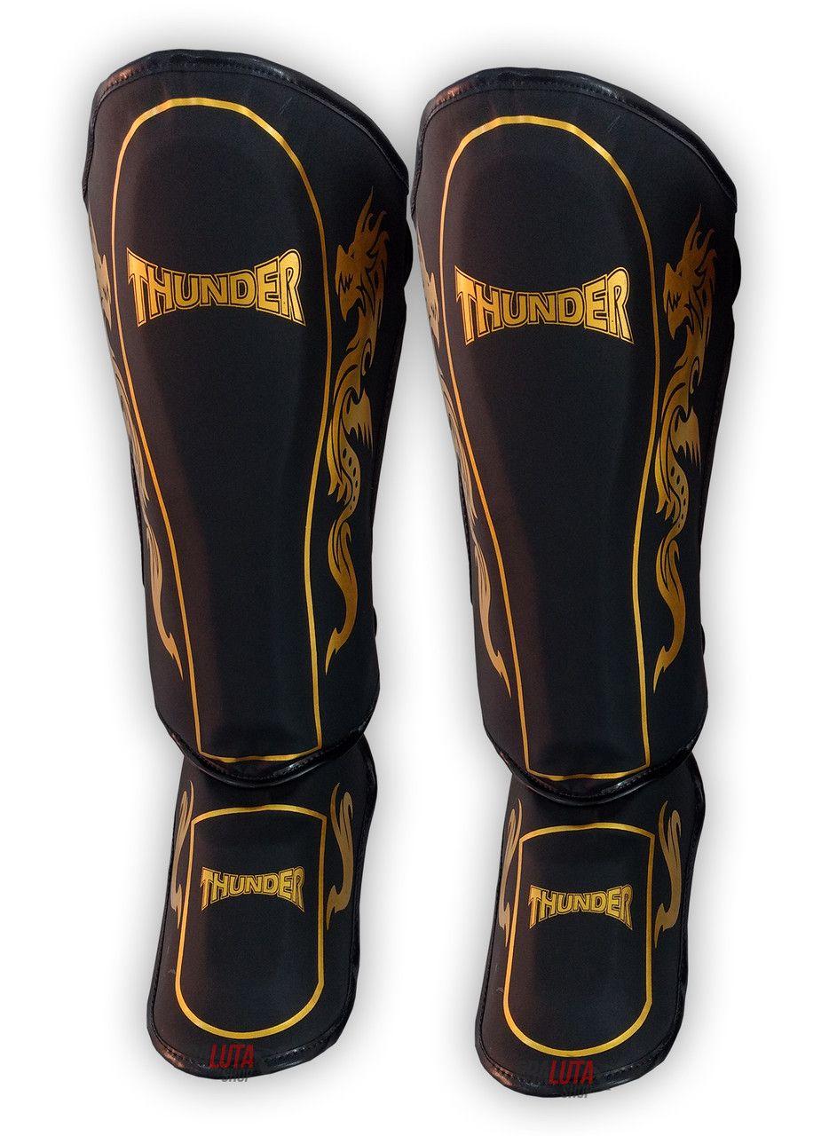 Caneleira Muay Thai MMA Dragão Preto / Dourado Média 30mm - Thunder Fight  - PRALUTA SHOP
