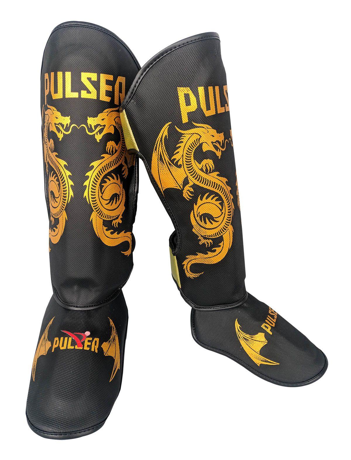 Caneleira Muay Thai MMA Dragão Preto Grande 30mm - Pulser  - PRALUTA SHOP