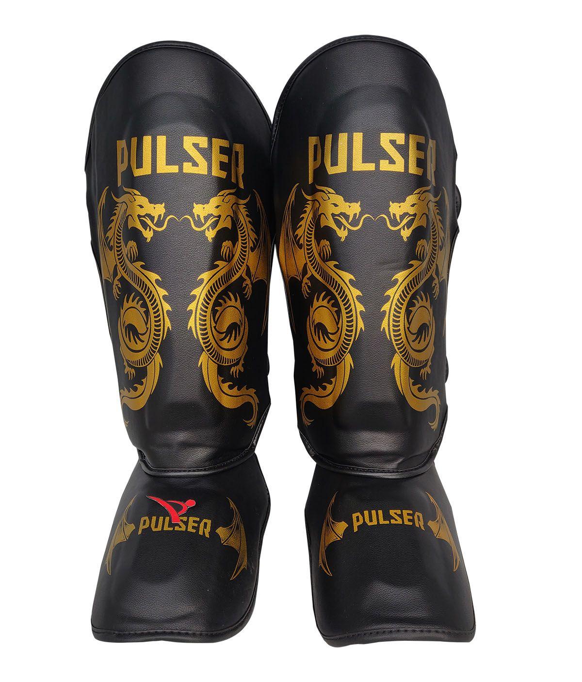 Caneleira Muay Thai MMA Dragão Preto Média 30mm - Pulser  - PRALUTA SHOP