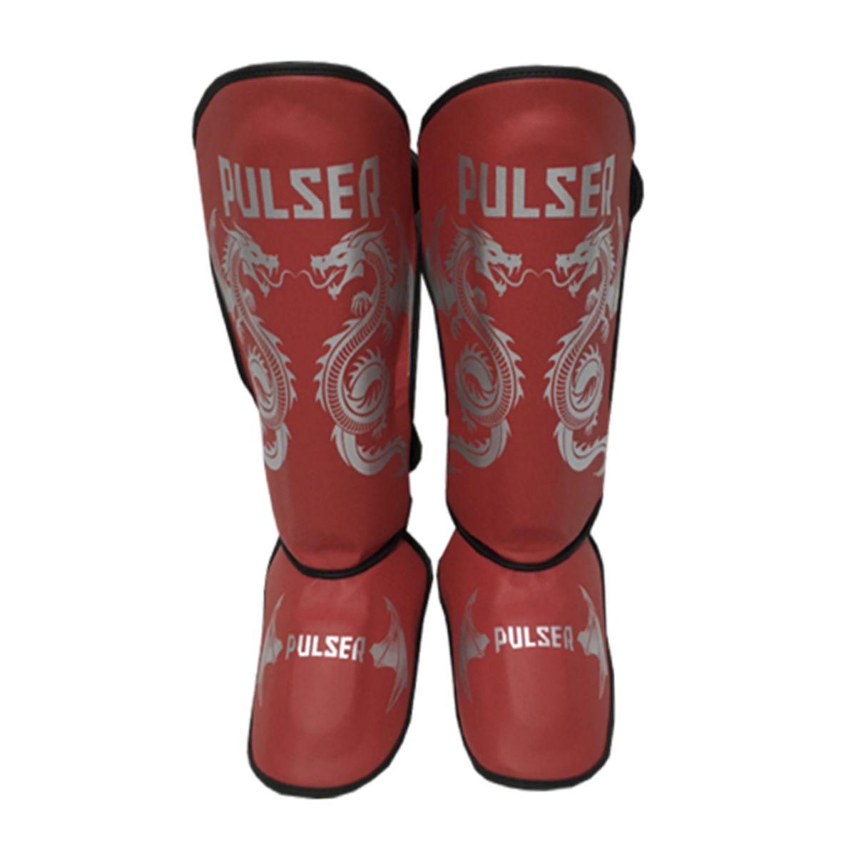 Caneleira Muay Thai MMA Dragão Vermelho Grande 30mm - Pulser  - PRALUTA SHOP