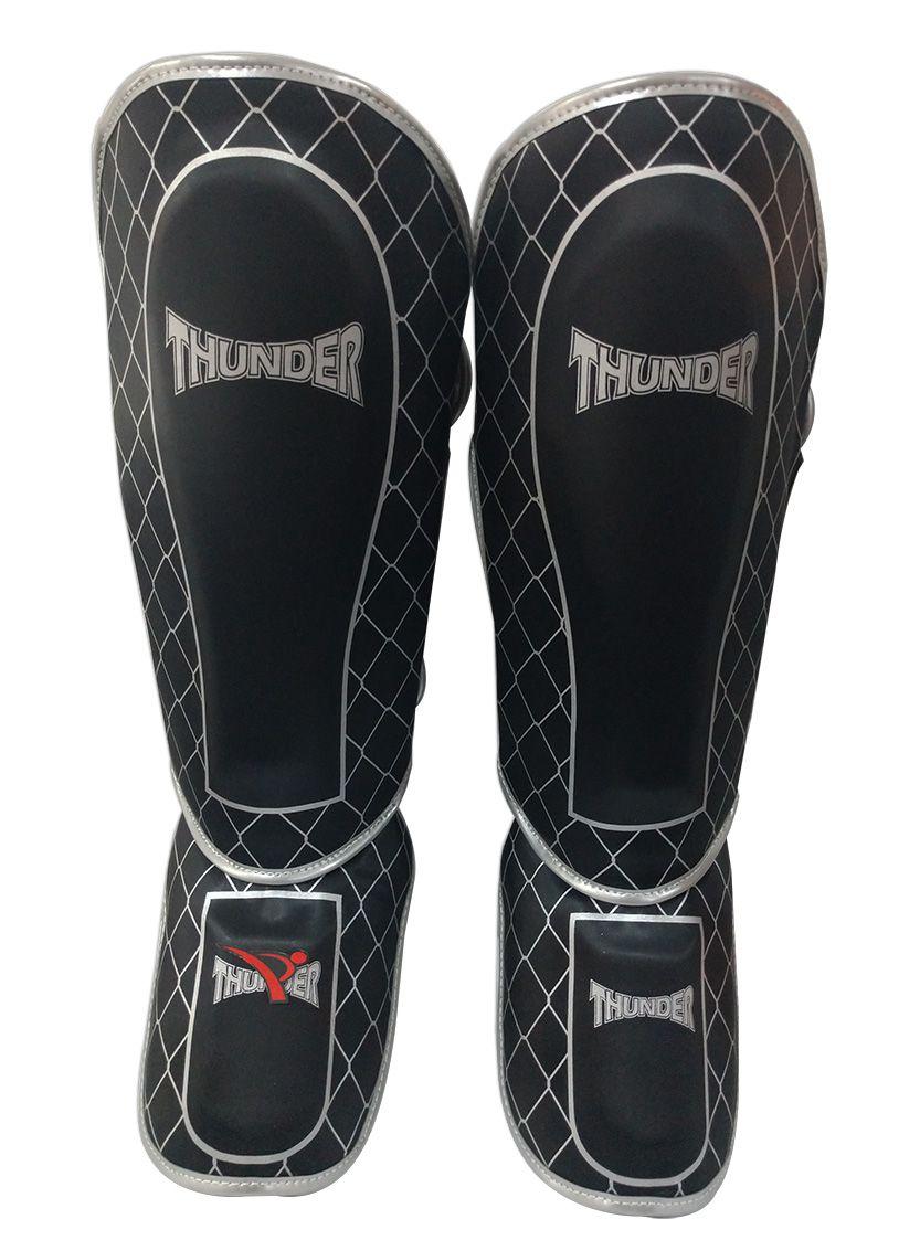 Caneleira Muay Thai MMA Grade Preto com Prata Média 30mm - Thunder Fight  - PRALUTA SHOP