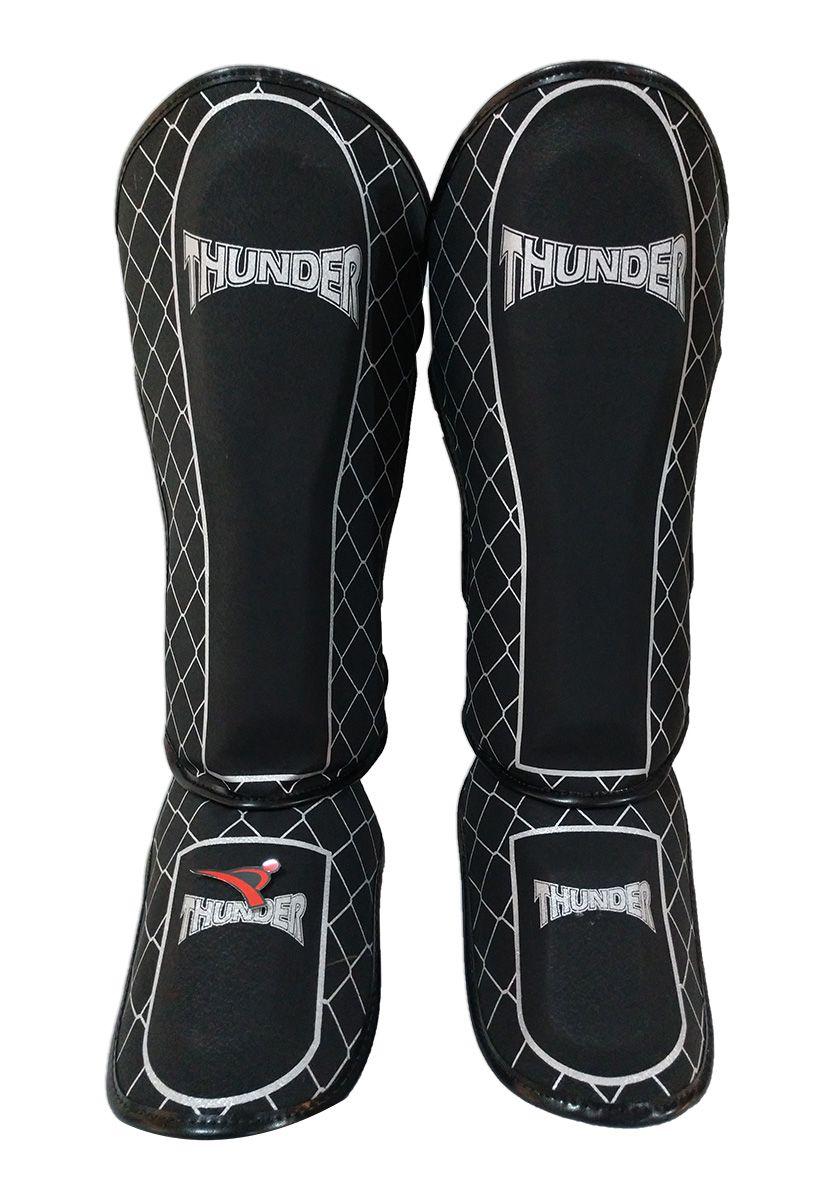 Caneleira Muay Thai MMA Grade Preto Grande 30mm - Thunder Fight  - PRALUTA SHOP