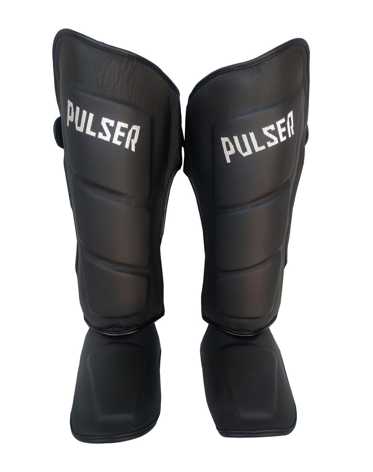 Caneleira Muay Thai MMA Preto Grande 40mm COURO - Pulser  - PRALUTA SHOP