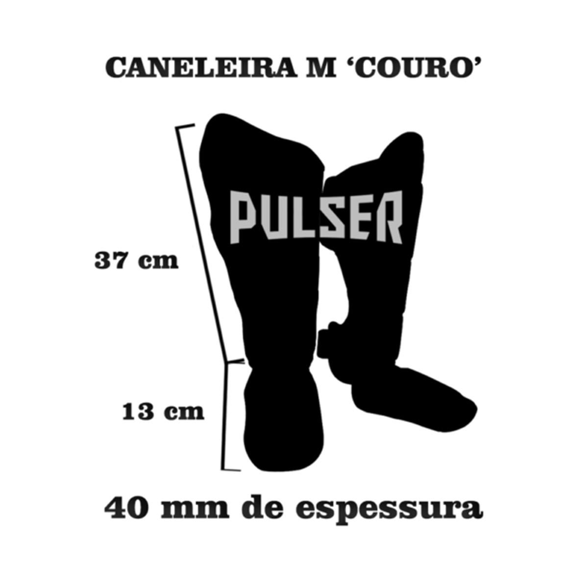 Caneleira Muay Thai MMA Preto Média 40mm COURO - Pulser  - PRALUTA SHOP
