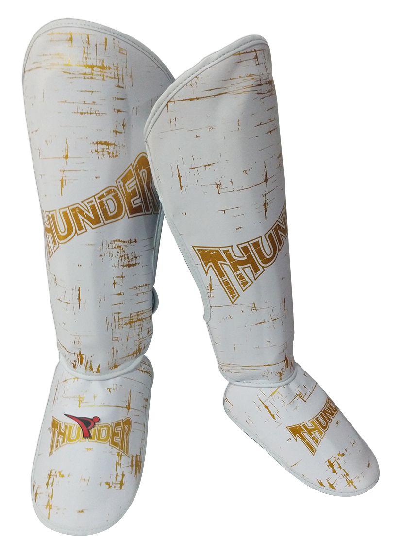 Caneleira Muay Thai MMA Riscado Branco com Dourado Média 30mm - Thunder Fight  - PRALUTA SHOP