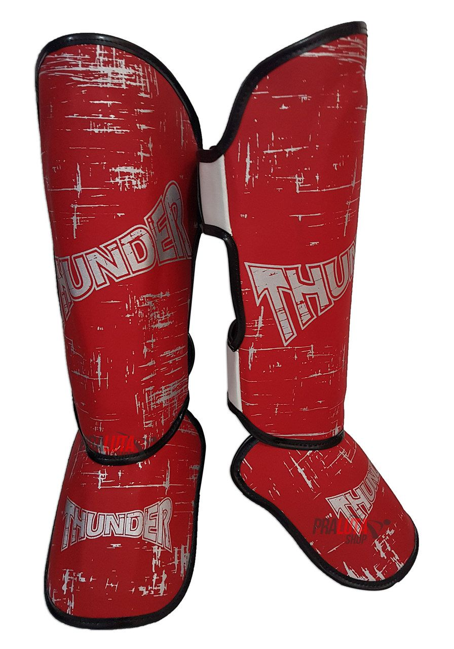 Caneleira Muay Thai MMA Riscado Vermelha Média 30mm - Thunder Fight  - PRALUTA SHOP