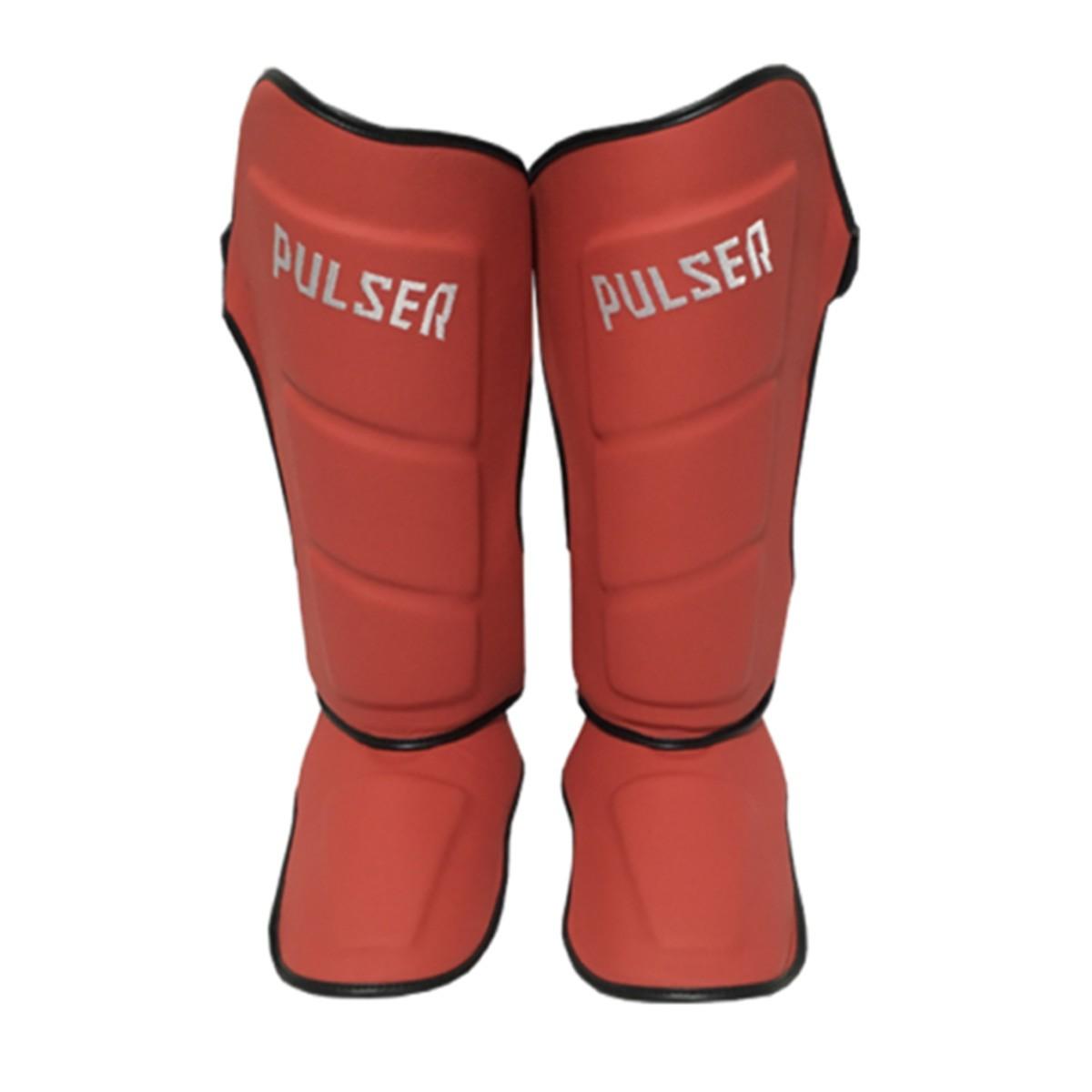 Caneleira Muay Thai MMA Vermelho Média 40mm COURO - Pulser  - PRALUTA SHOP