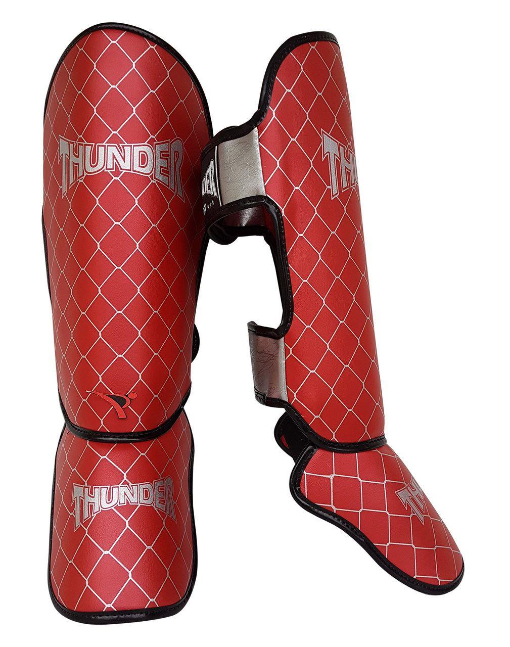 Caneleira Tradicional Muay Thai MMA Vermelha 20mm - Thunder Fight  - PRALUTA SHOP