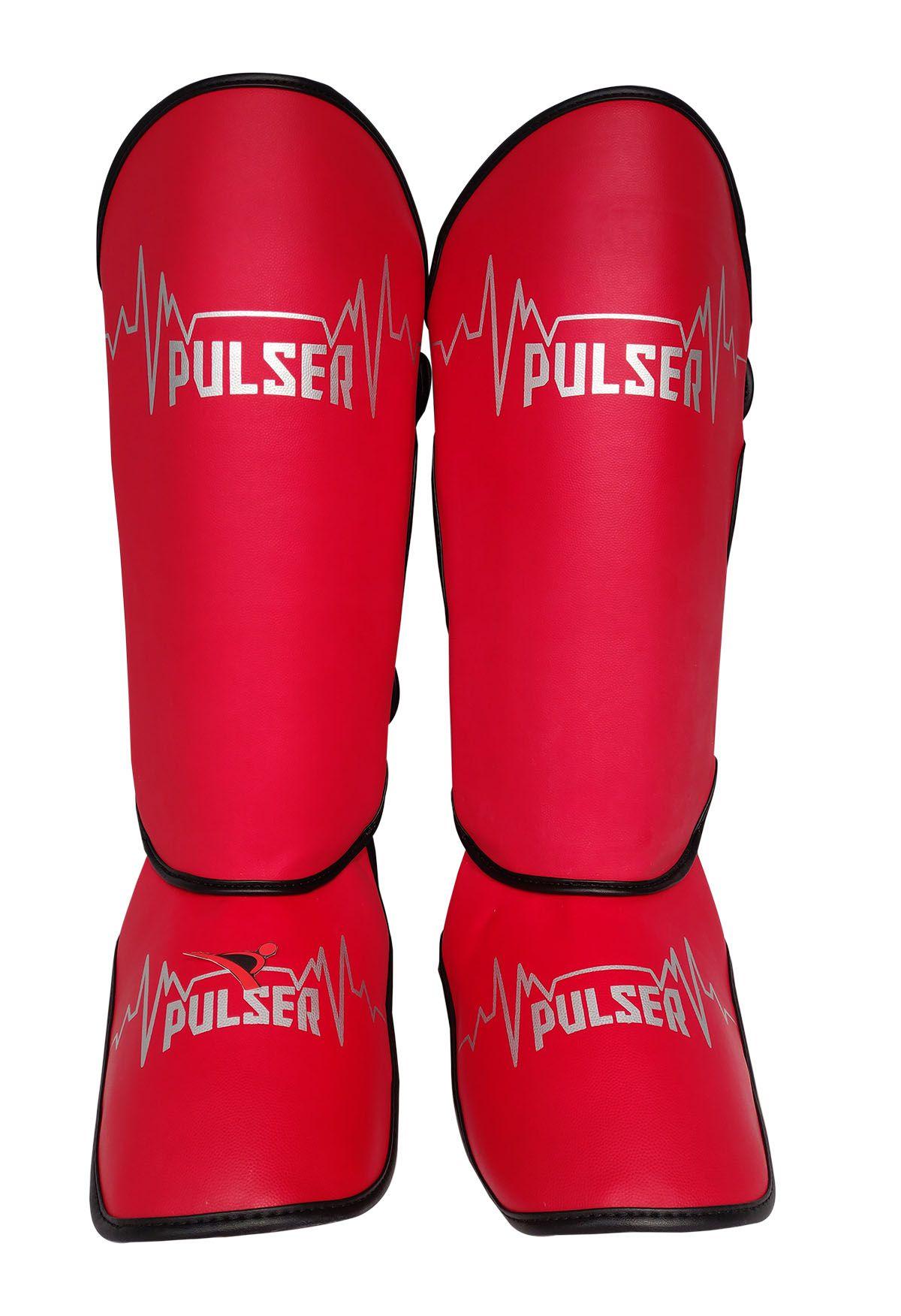 Caneleira Tradicional Muay Thai MMA Vermelho 20mm - Pulser  - PRALUTA SHOP