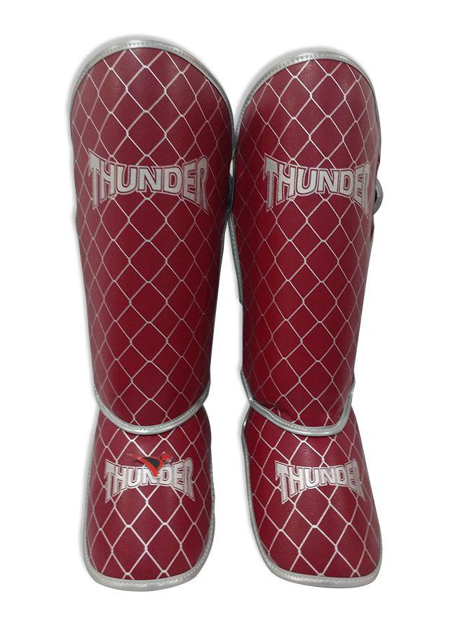 Caneleira Tradicional Muay Thai MMA Vermelho e Prata 20mm - Thunder Fight  - PRALUTA SHOP