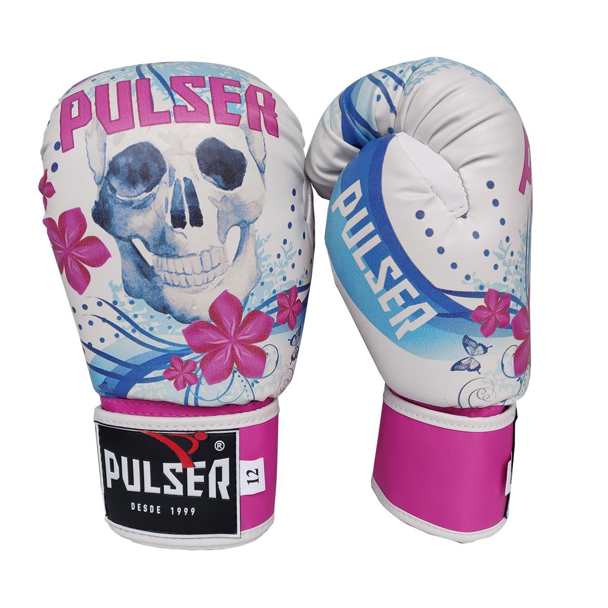 Kit de Muay Thai / Kickboxing Feminino 12oz - Caveira Azul Floral - Pulser  - PRALUTA SHOP