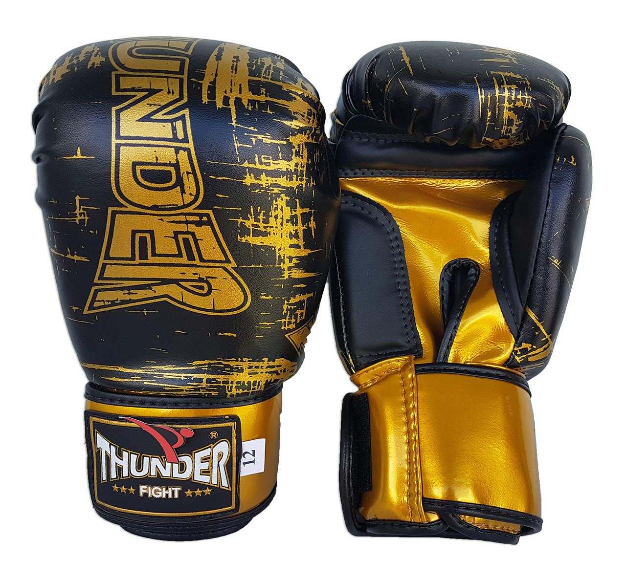 Luva de Boxe / Muay Thai 12oz - Preto Riscado - Thunder Fight  - PRALUTA SHOP