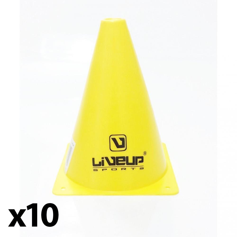 Kit 10 Cone Esportivo 18cm Treino Agilidade Amarelo - LiveUp  - PRALUTA SHOP