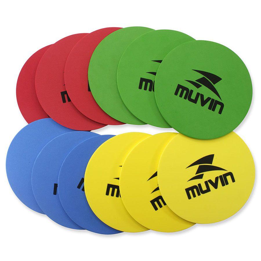 Kit C/ 12 Marcadores para Treinamento Funcional - Azul / Amarelo / Verde / Vermelho - 20cm - Muvin  - PRALUTA SHOP